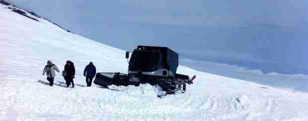 Etna summit craters with snowcat